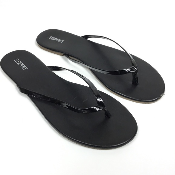 c38d7851c Esprit Shoes - ESPRIT PARTY BLACK PATENT LEATHER THONG FLIP FLOPS